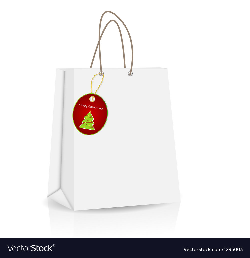 Empty shopping bag with christmas label for vector | Price: 1 Credit (USD $1)