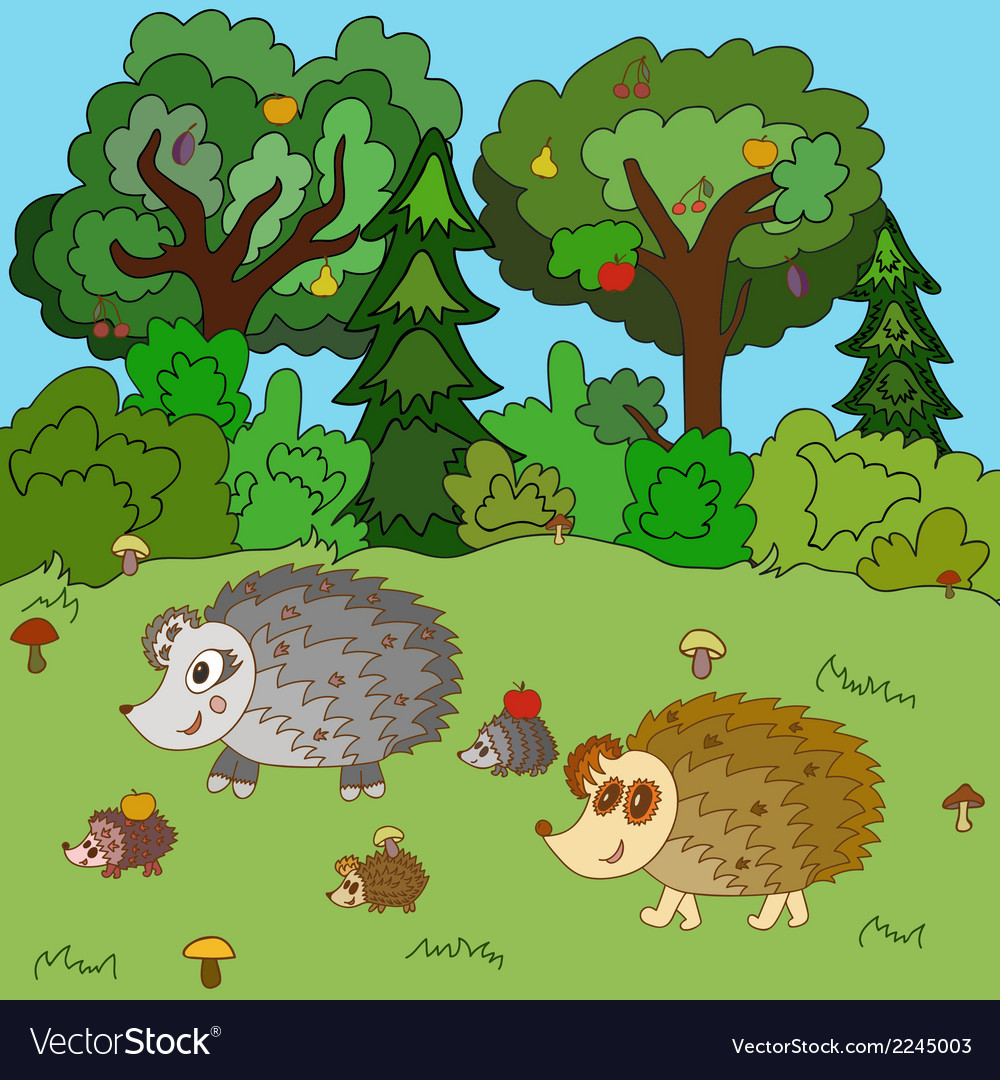 Family of hedgehogs walk on a forest glade vector | Price: 1 Credit (USD $1)