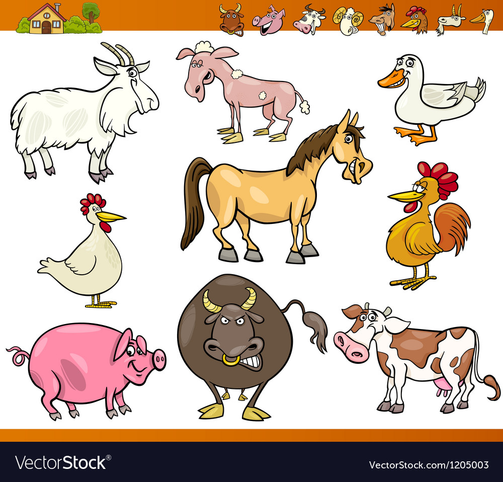Farm animals set cartoon vector | Price: 3 Credit (USD $3)