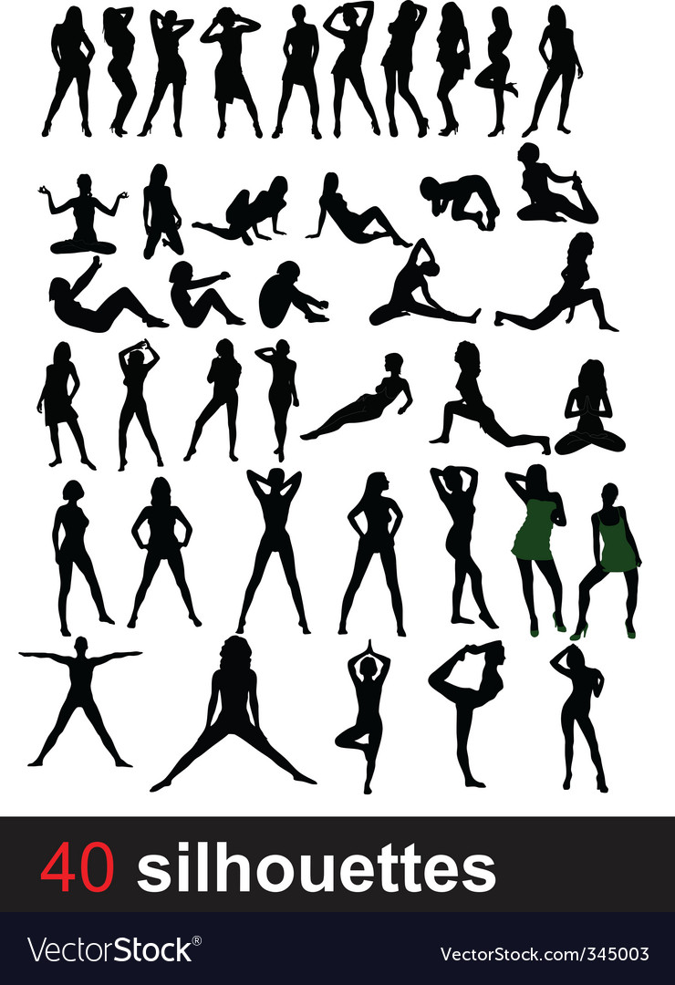 Forty silhouettes vector | Price: 1 Credit (USD $1)