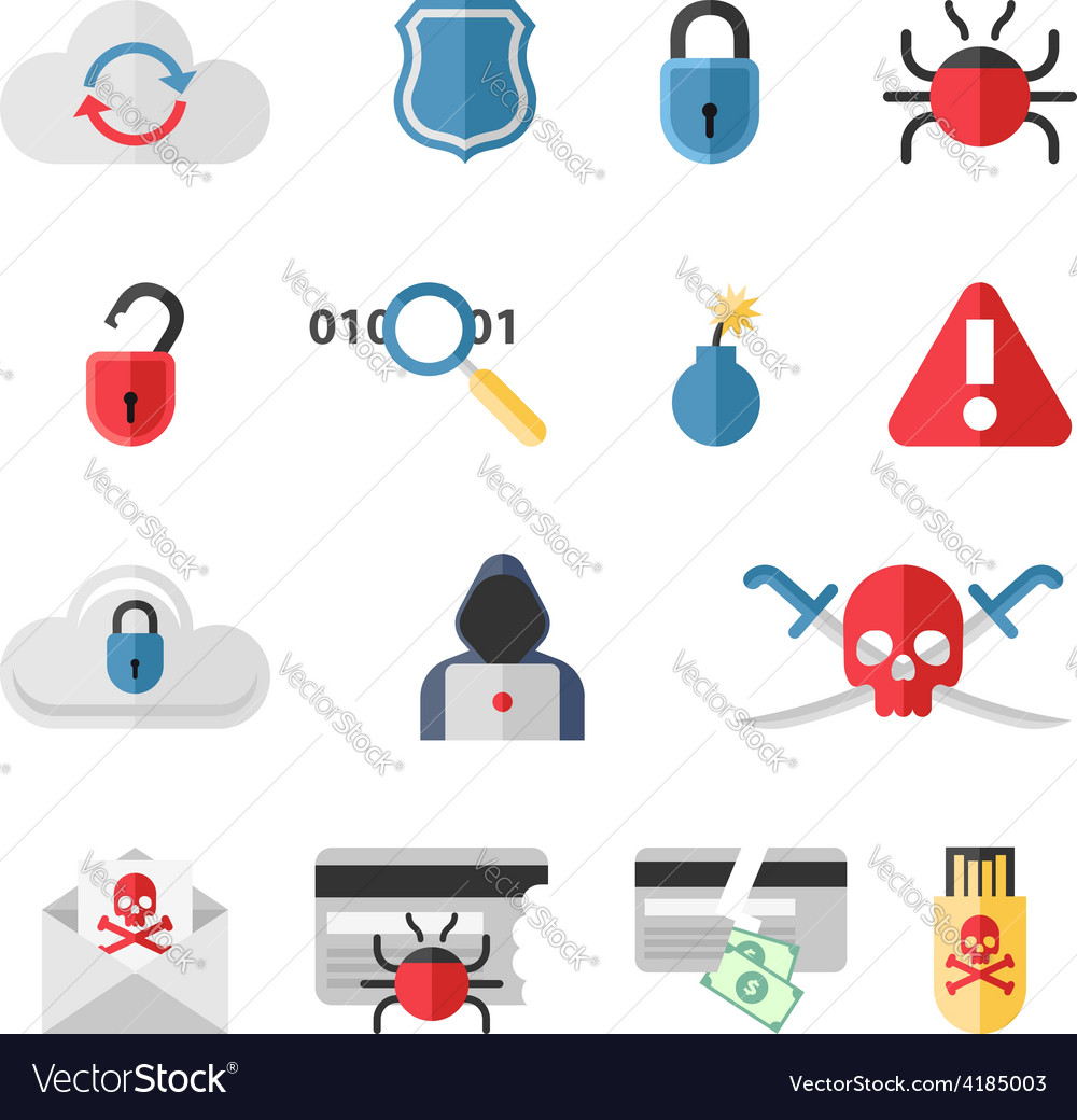 Hacker flat icons set with bug virus crack worm vector | Price: 1 Credit (USD $1)