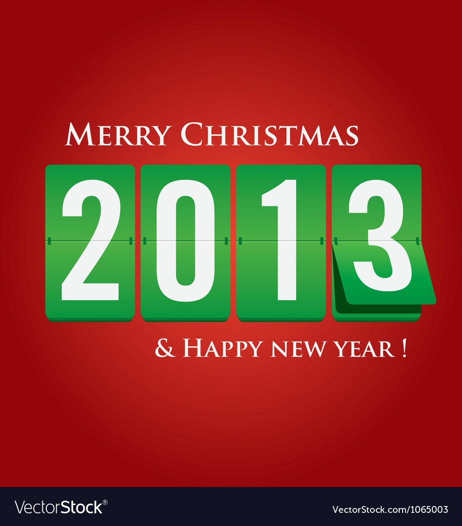 Merry christmas and happy new year 2013 mechanical vector | Price: 1 Credit (USD $1)