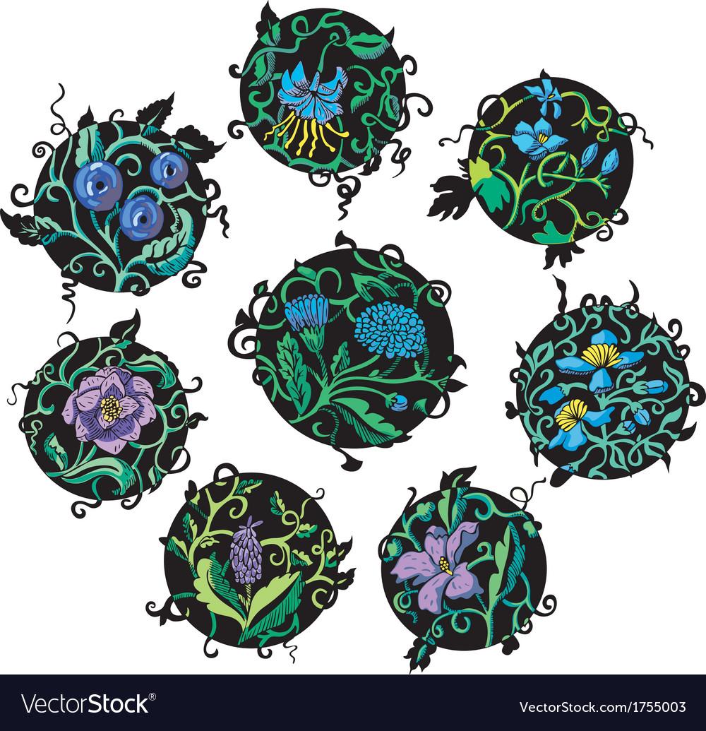 Round blue flower designs vector | Price: 1 Credit (USD $1)