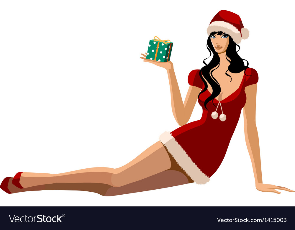 Santa suit woman sitting vector | Price: 3 Credit (USD $3)