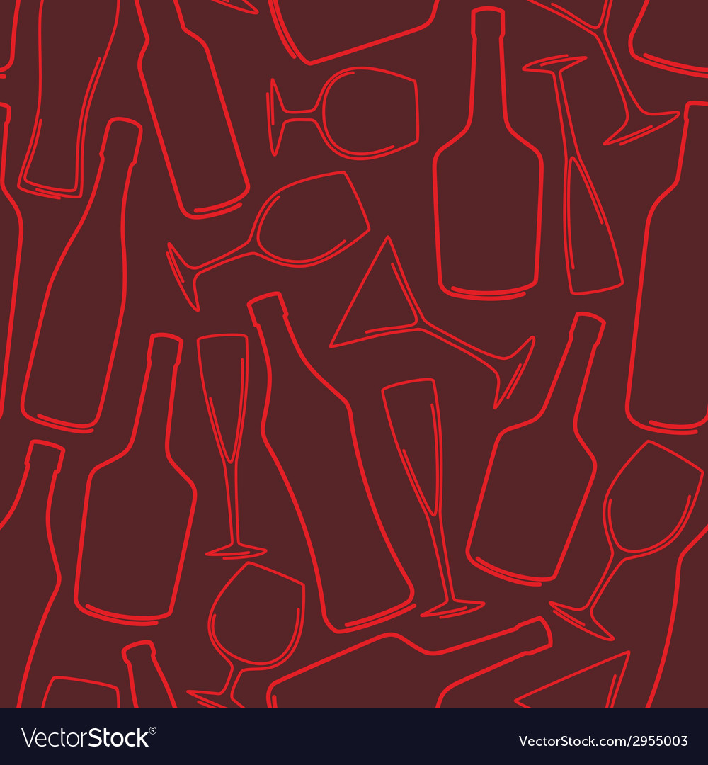 Seamless background with bottles and glasses vector | Price: 1 Credit (USD $1)
