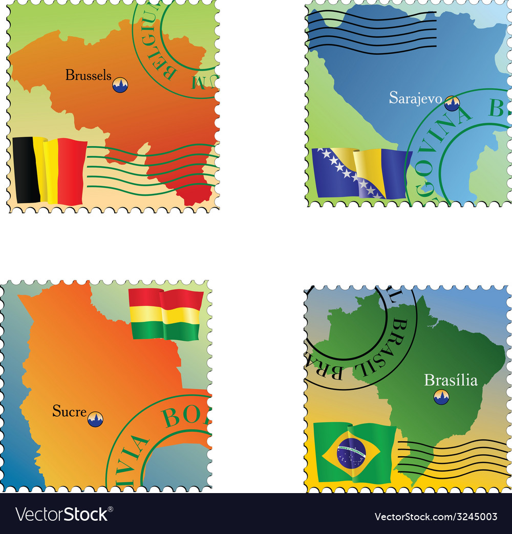 Stamp with an image of map capital of belgium boli vector | Price: 1 Credit (USD $1)