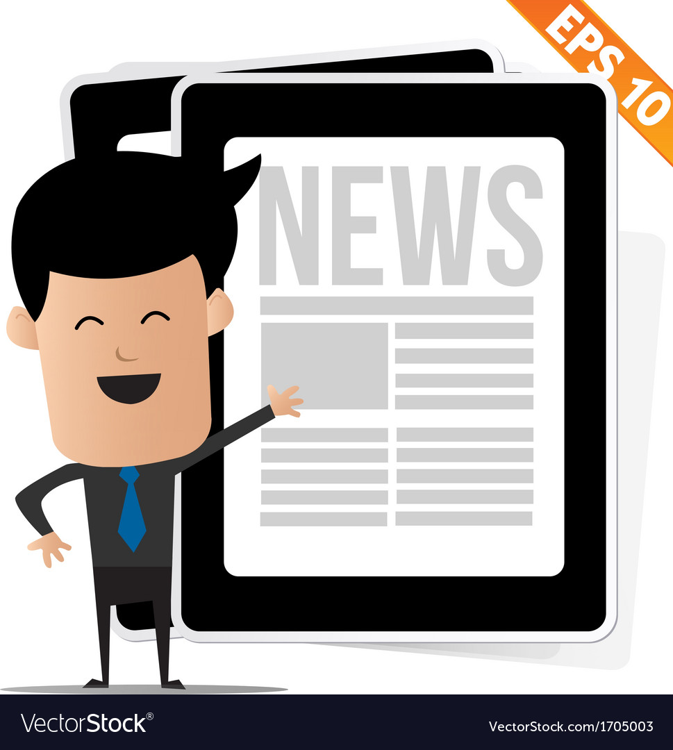 Young cartoon business man with news on tablet  vector