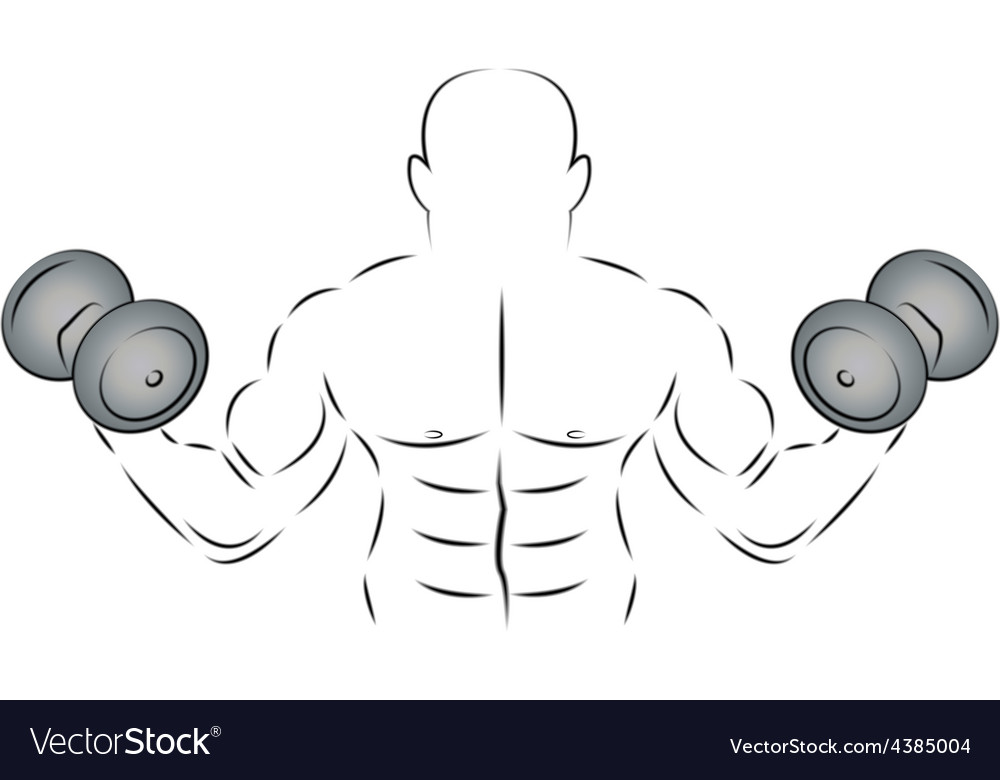 Athlete with two dumbbells vector | Price: 1 Credit (USD $1)