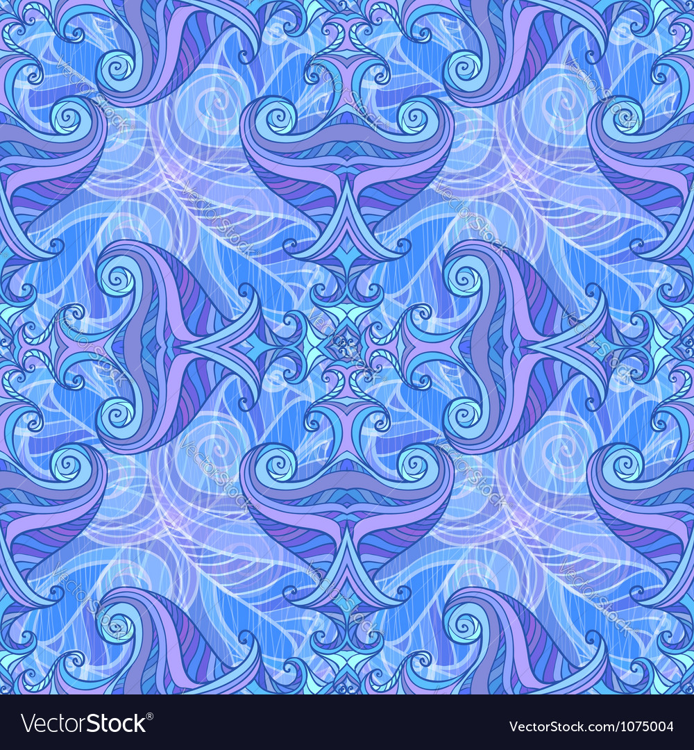Blue and violet waves seamless background vector | Price: 1 Credit (USD $1)