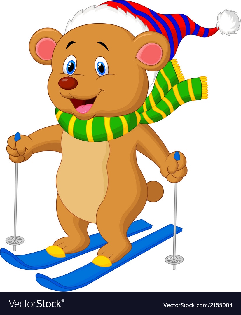Brown bear cartoon skiing vector | Price: 1 Credit (USD $1)