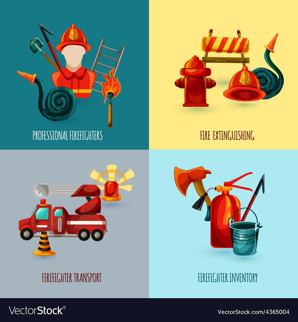 Firefighter design set vector | Price: 1 Credit (USD $1)