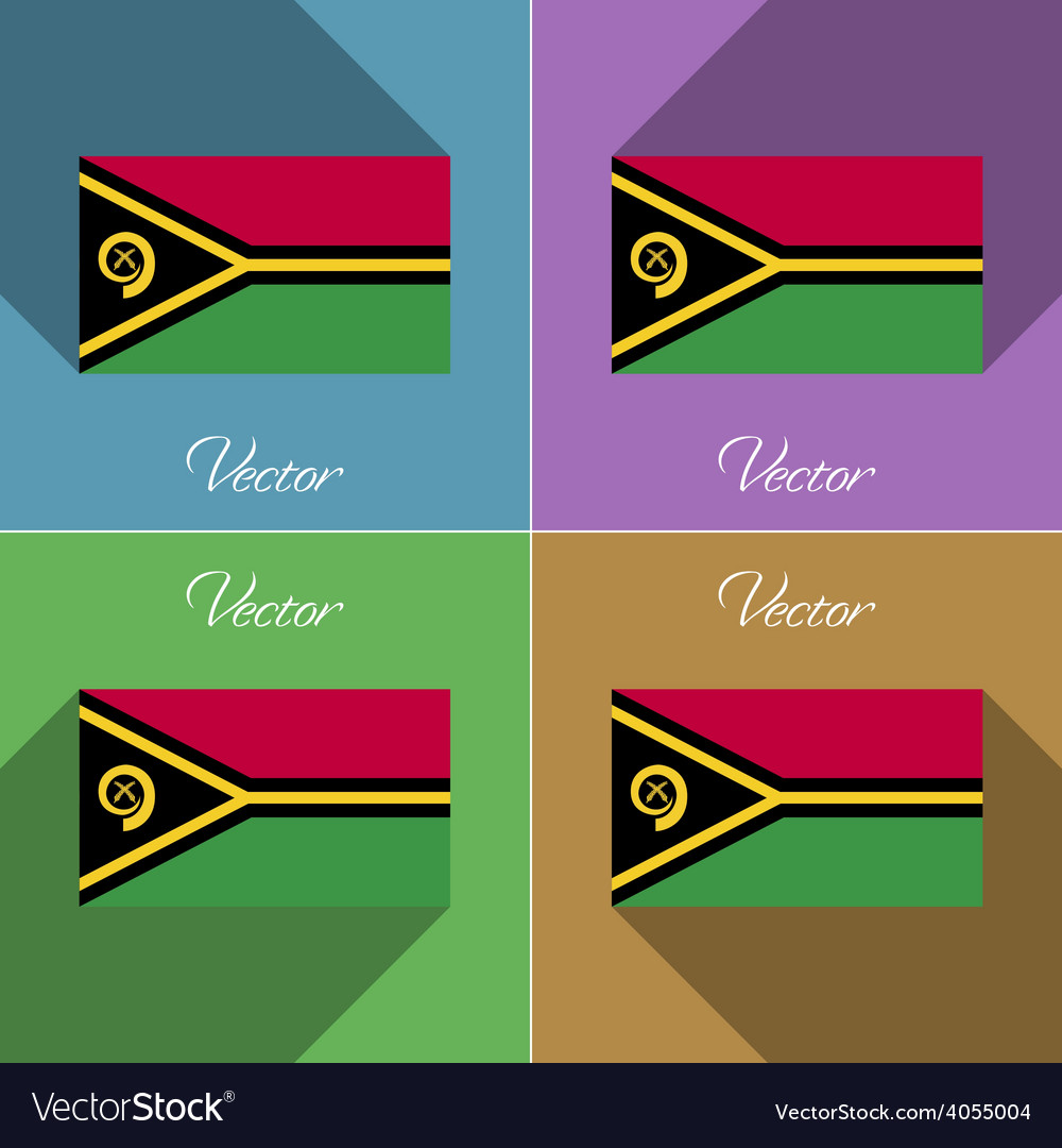 Flags vanuatu set of colors flat design and long vector | Price: 1 Credit (USD $1)
