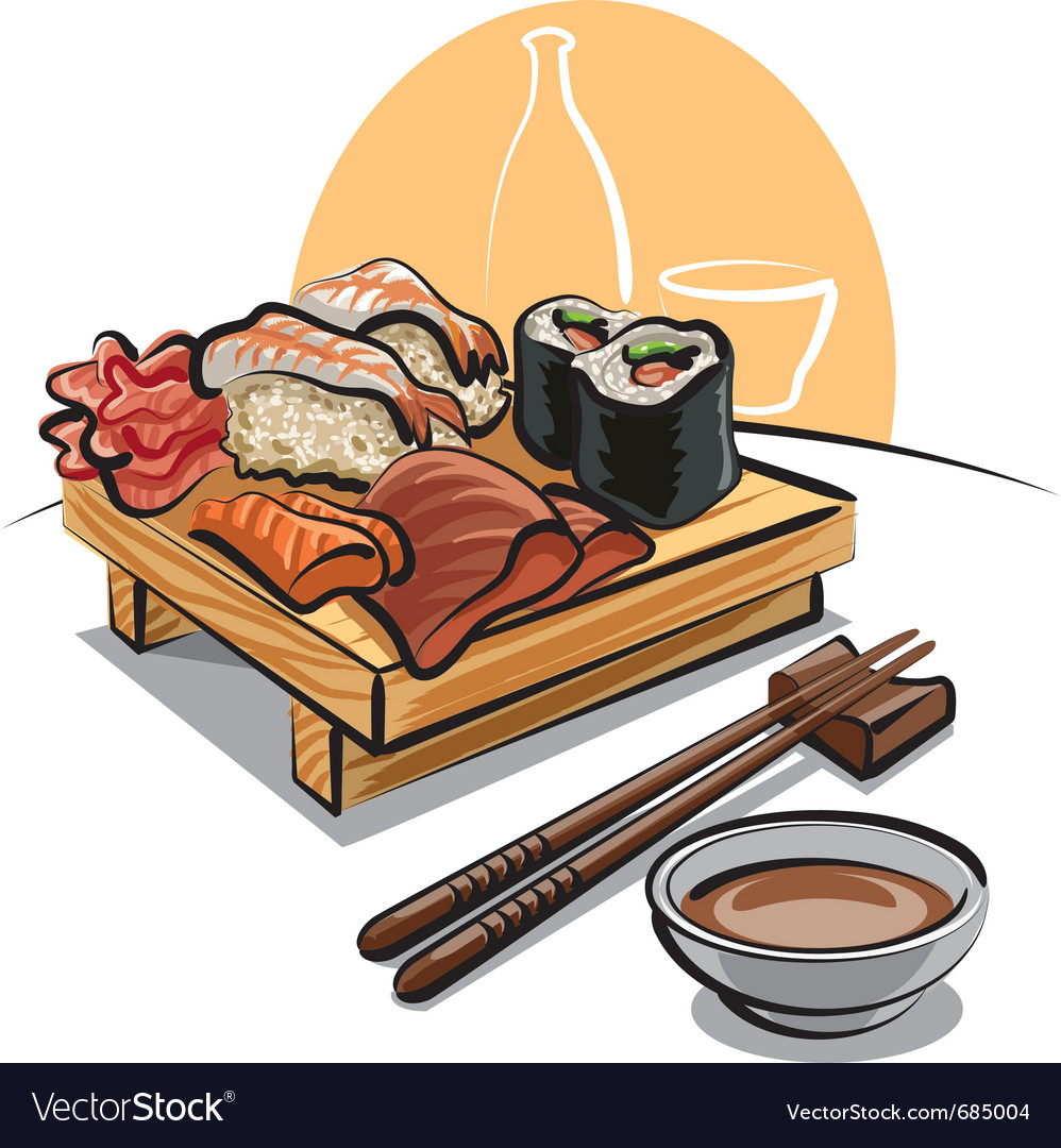 Japan cuisine - sushi set and sauce vector | Price: 3 Credit (USD $3)