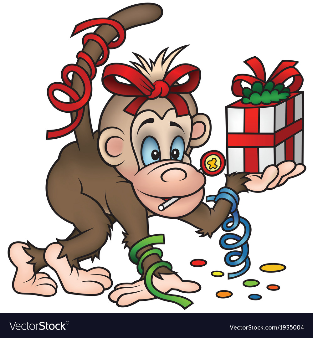 Monkey and gift vector | Price: 3 Credit (USD $3)
