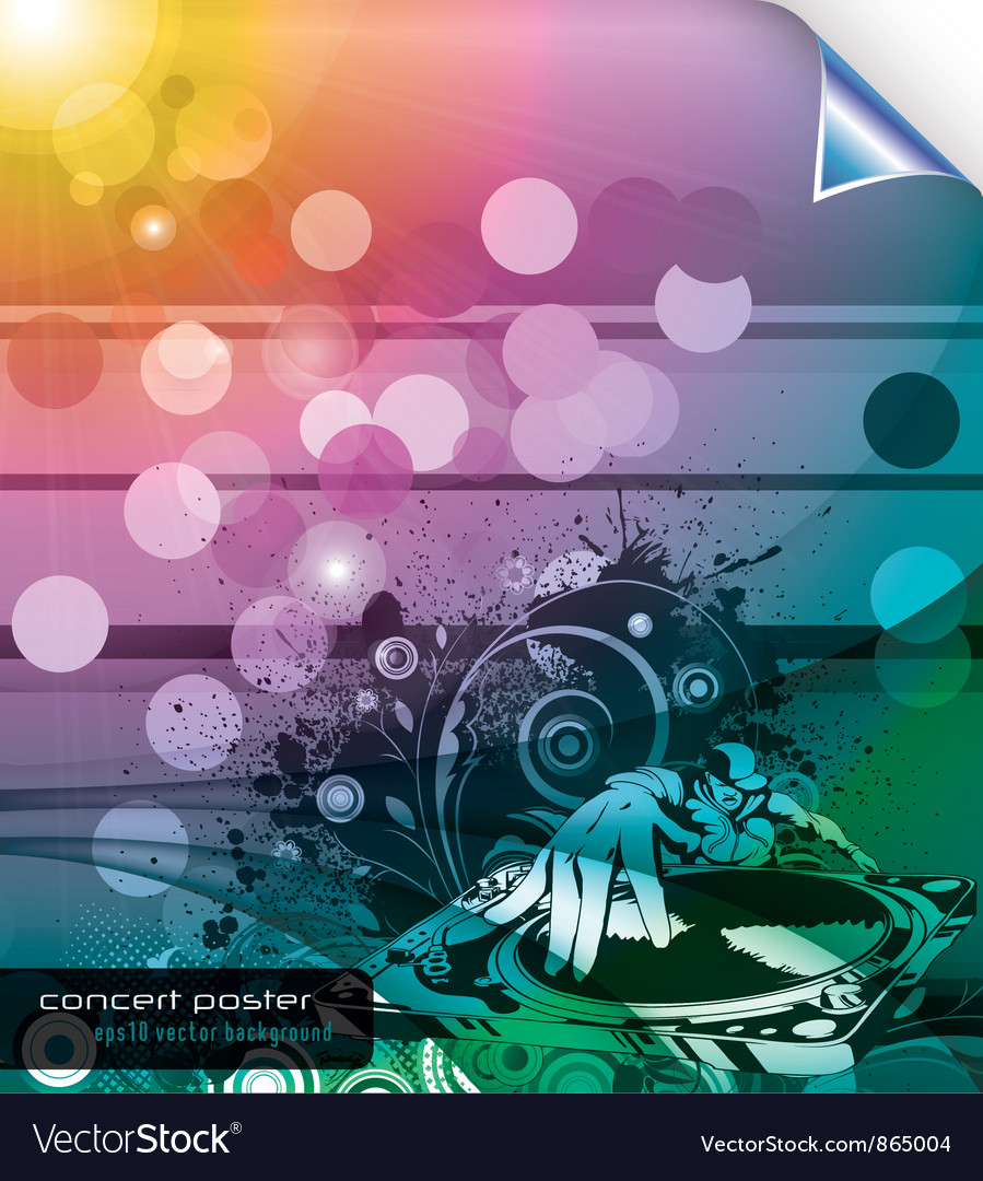 Music background with dj and floral vector | Price: 1 Credit (USD $1)