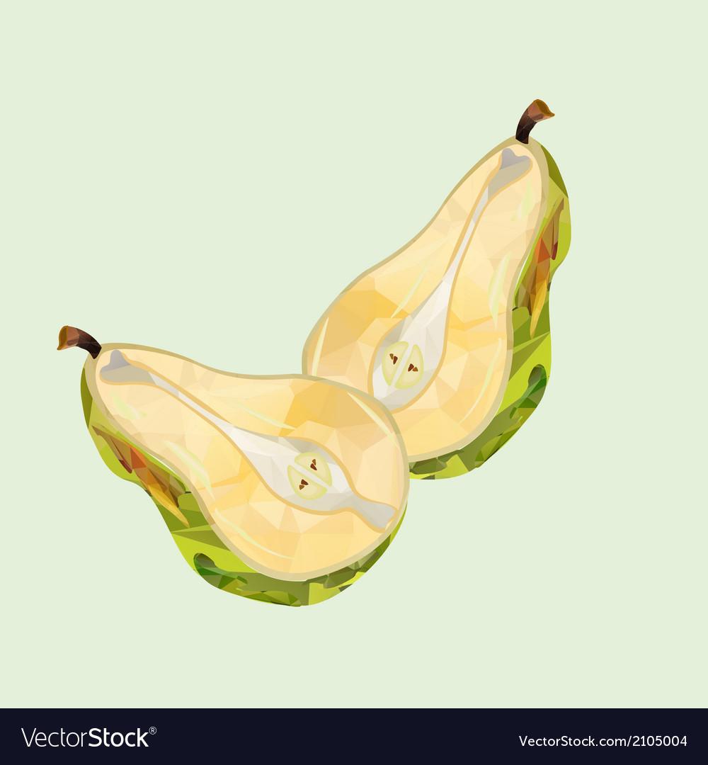 Pear halves polygonal vector | Price: 1 Credit (USD $1)