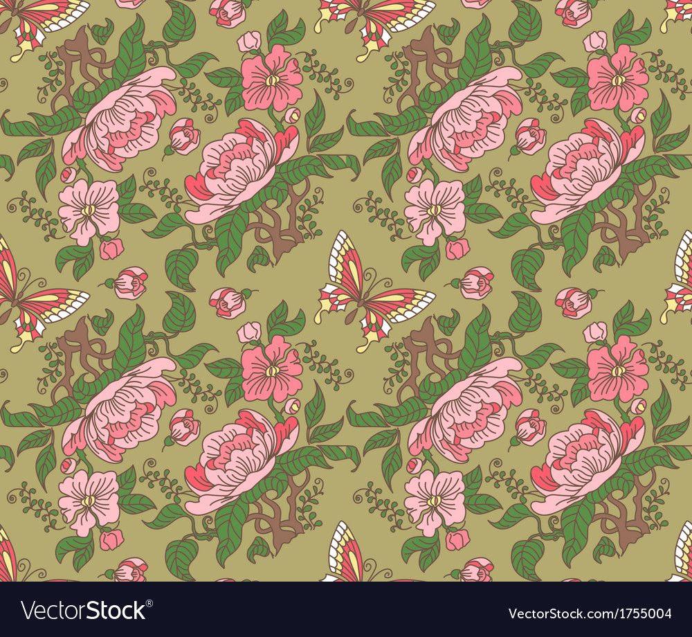 Peony and butterfly seamless color vector | Price: 1 Credit (USD $1)