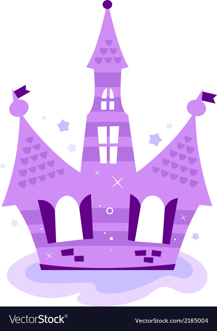 Princess sky castle isolated on white  purple vector