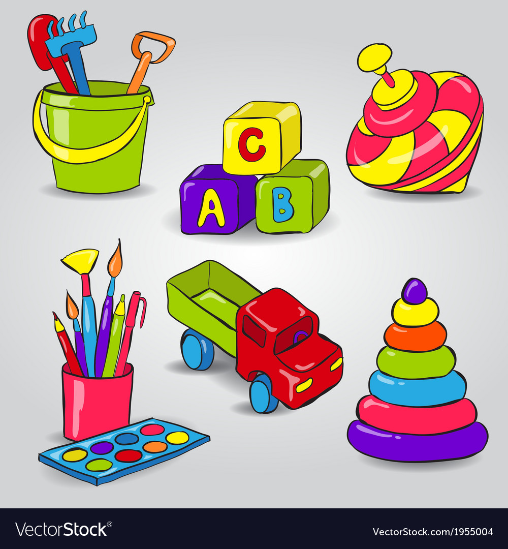 Set of childrens toys vector | Price: 1 Credit (USD $1)