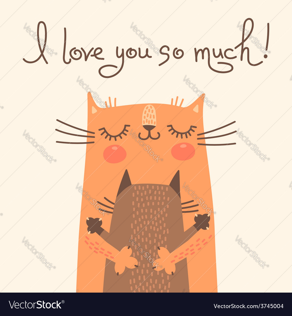 Sweet card for mothers day with cats vector | Price: 1 Credit (USD $1)