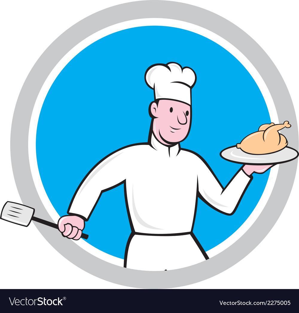 Chef with chicken spatula circle cartoon vector | Price: 1 Credit (USD $1)