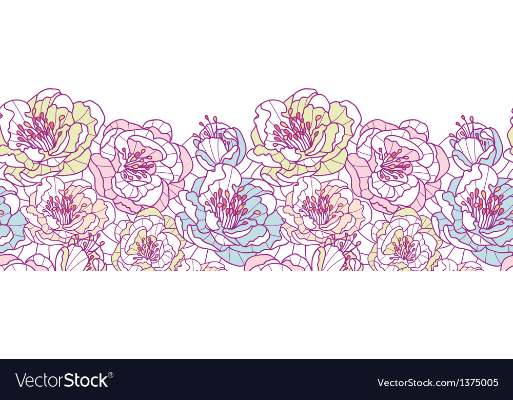 Colorful line art flowers horizontal seamless vector | Price: 1 Credit (USD $1)