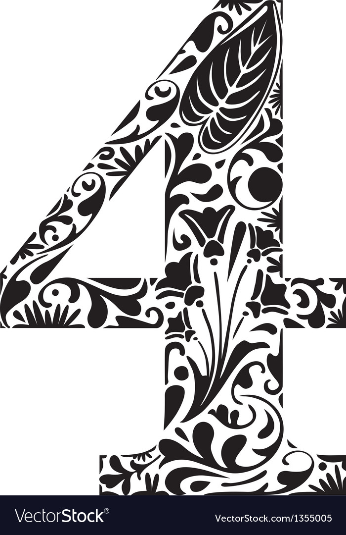 Floral four vector | Price: 1 Credit (USD $1)