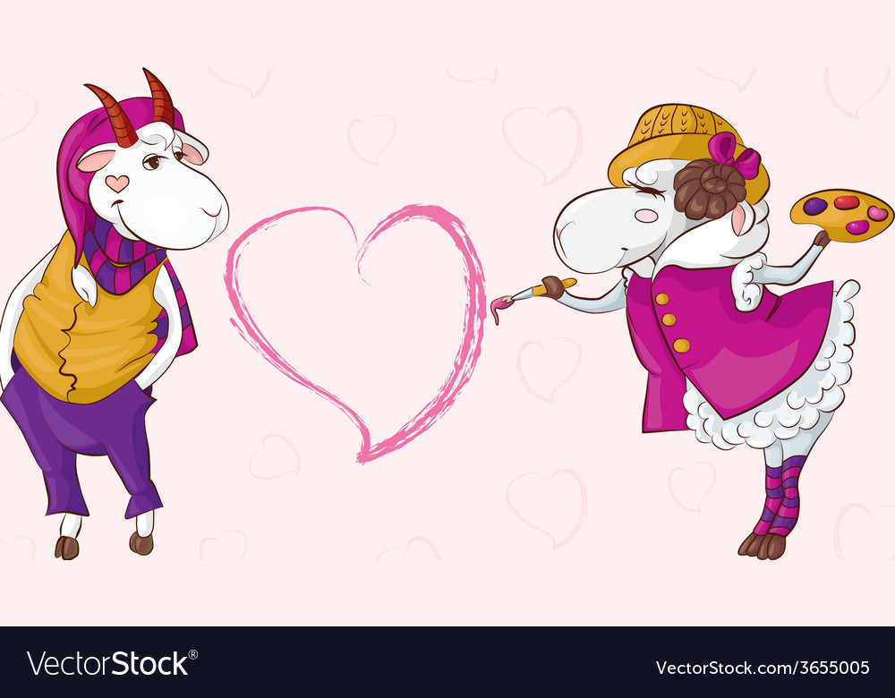 Goat sheep valentine vector | Price: 1 Credit (USD $1)