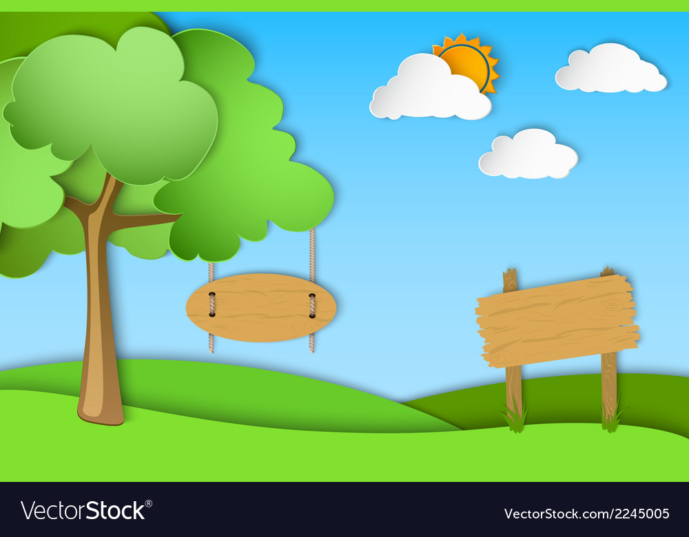 Green landscape of paper vector | Price: 1 Credit (USD $1)