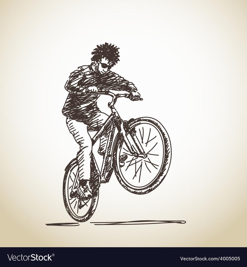 Hand drawn cyclist vector | Price: 1 Credit (USD $1)