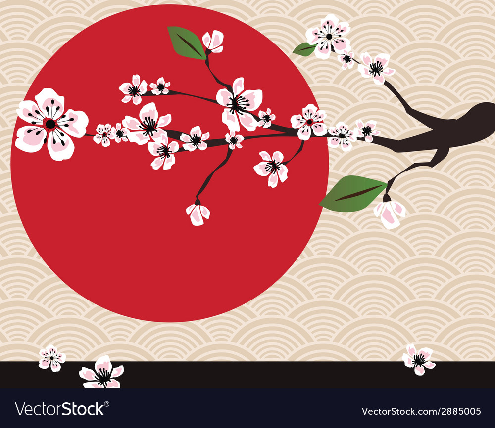 Japanese card with cherry blossom sakura and vector | Price: 1 Credit (USD $1)