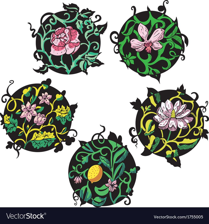 Round pink flower designs vector | Price: 1 Credit (USD $1)