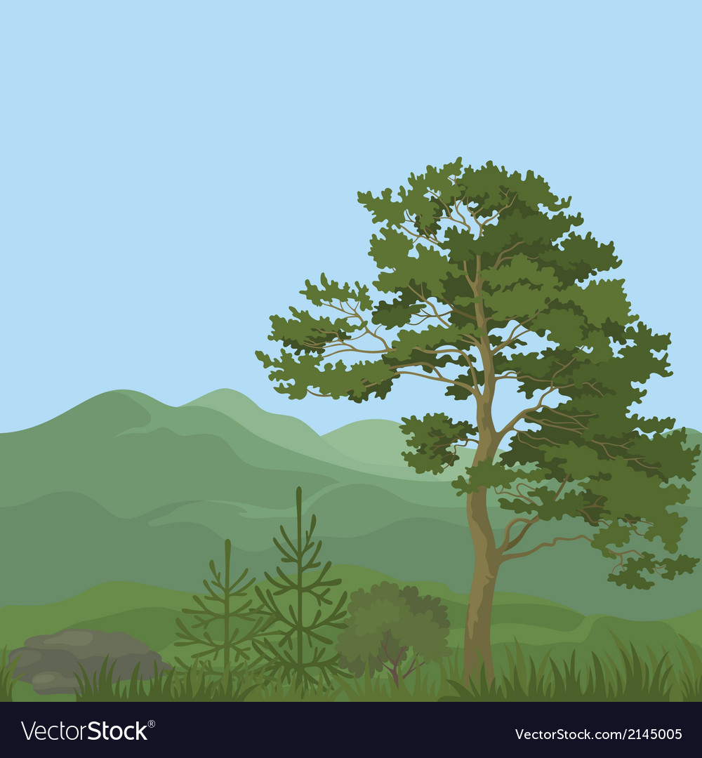 Seamless mountain landscape with trees vector | Price: 1 Credit (USD $1)