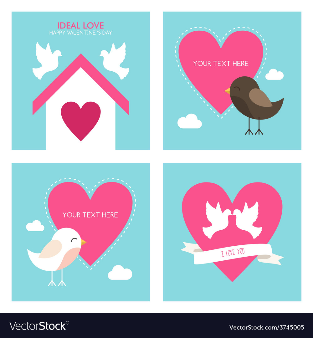 Set of st valentines day greeting cards in flat vector | Price: 1 Credit (USD $1)