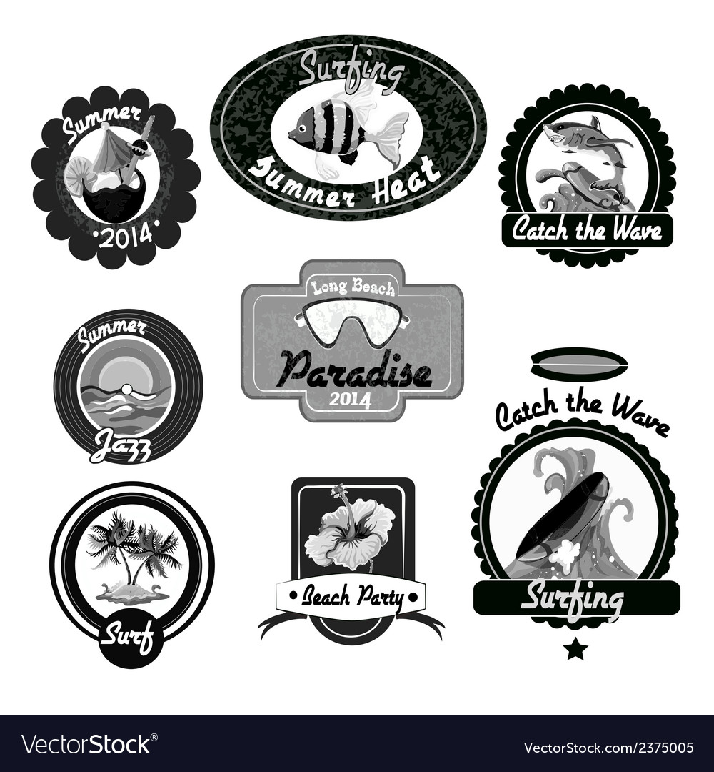 Surfing emblems black vector | Price: 1 Credit (USD $1)