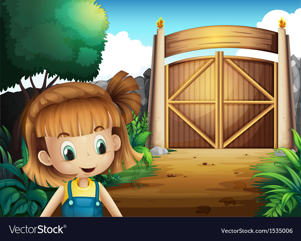 A young girl inside the gated yard vector | Price: 1 Credit (USD $1)