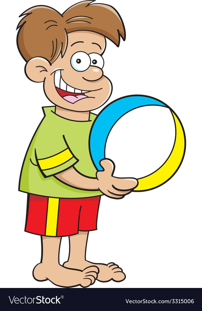 Cartoon boy holding a beach ball vector | Price: 1 Credit (USD $1)