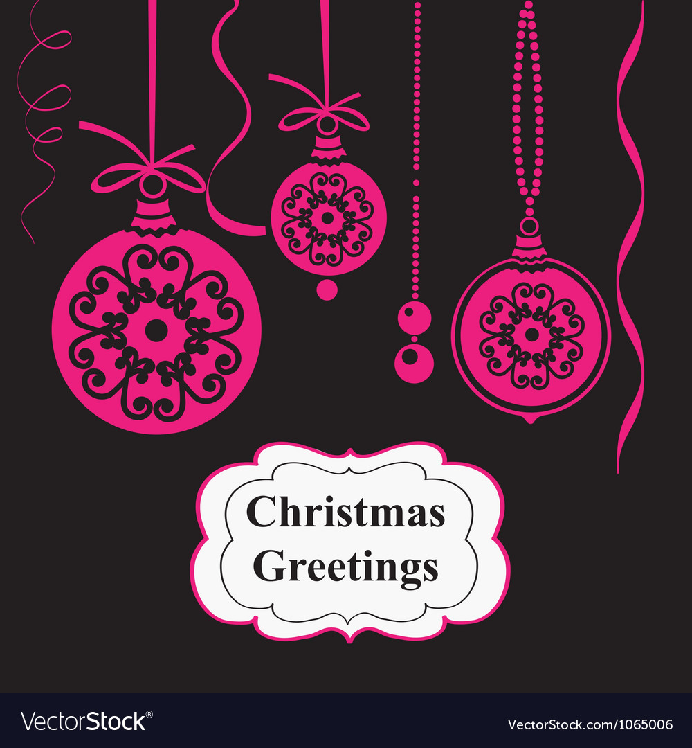 Christmas pink balls on black background vector | Price: 1 Credit (USD $1)