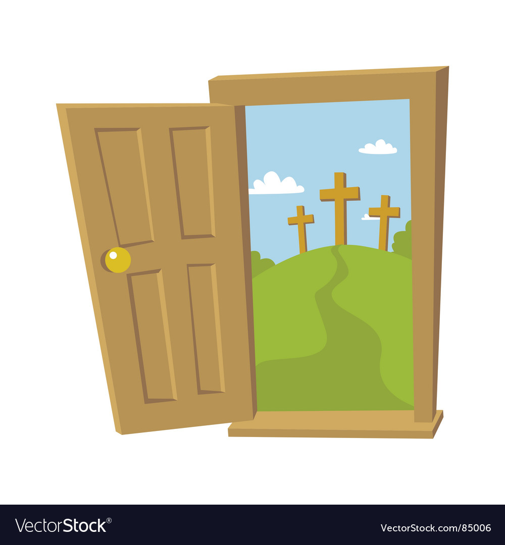 Door open to the cross vector | Price: 1 Credit (USD $1)
