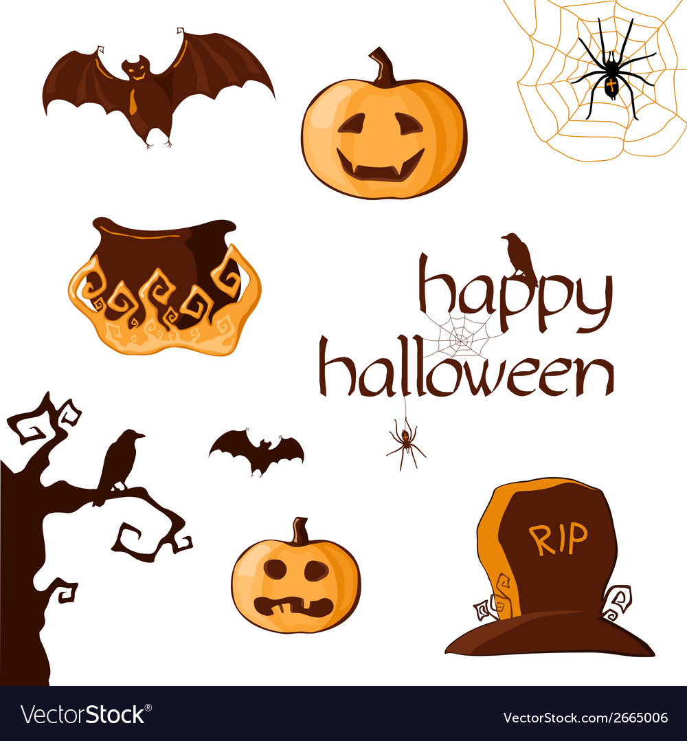 Halloween set of element vector | Price: 1 Credit (USD $1)