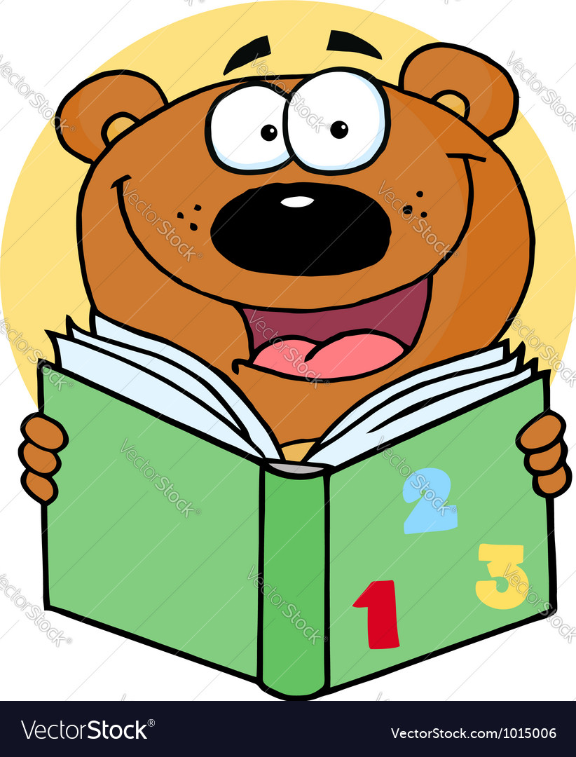Happy bear reading a book vector | Price: 1 Credit (USD $1)