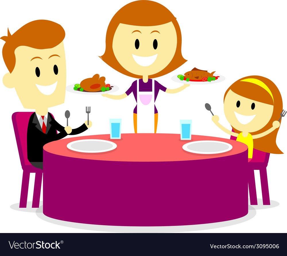 Mom serving meals for family dinner vector | Price: 1 Credit (USD $1)