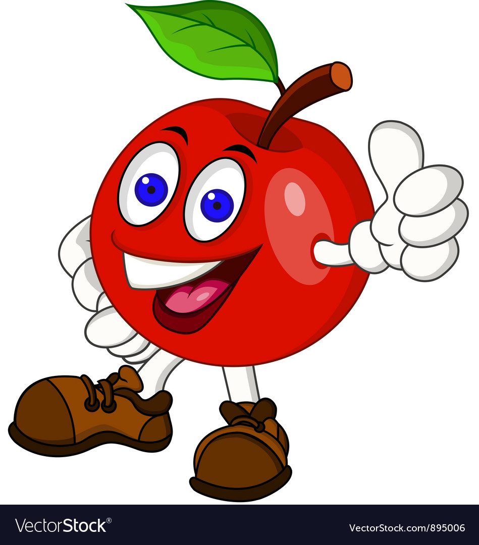 Red apple cartoon vector | Price: 3 Credit (USD $3)