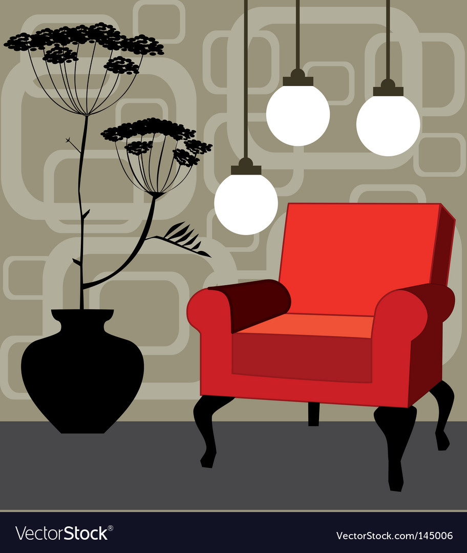 Retro interior design vector | Price: 1 Credit (USD $1)