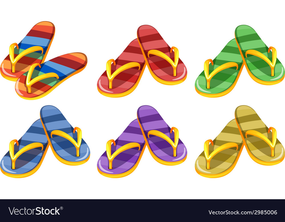 Six pairs of slippers vector | Price: 1 Credit (USD $1)