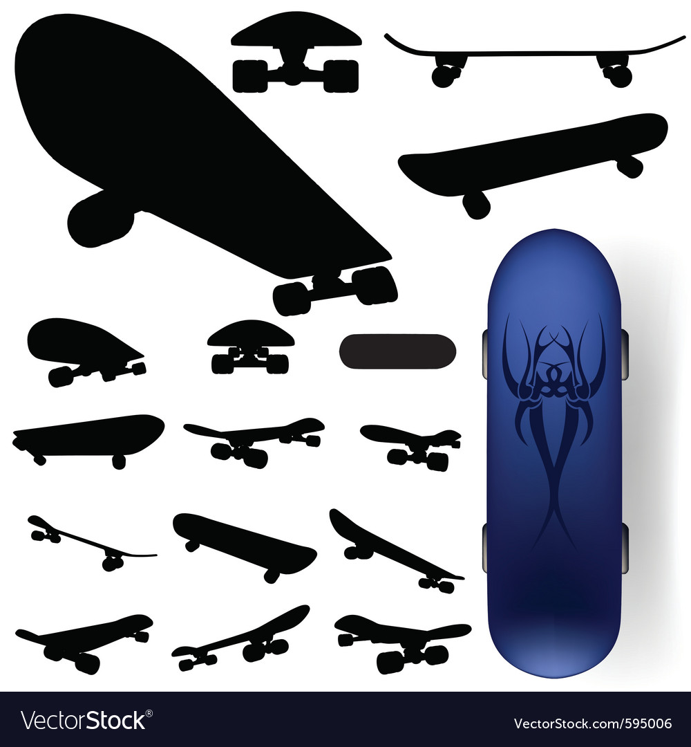 Skateboard silhouettes vector | Price: 1 Credit (USD $1)