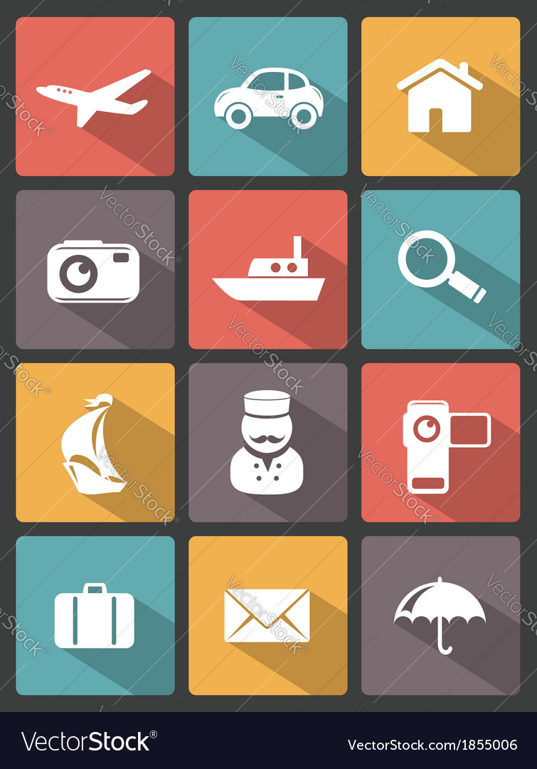 Travel icons set vector | Price:  Credit (USD $)