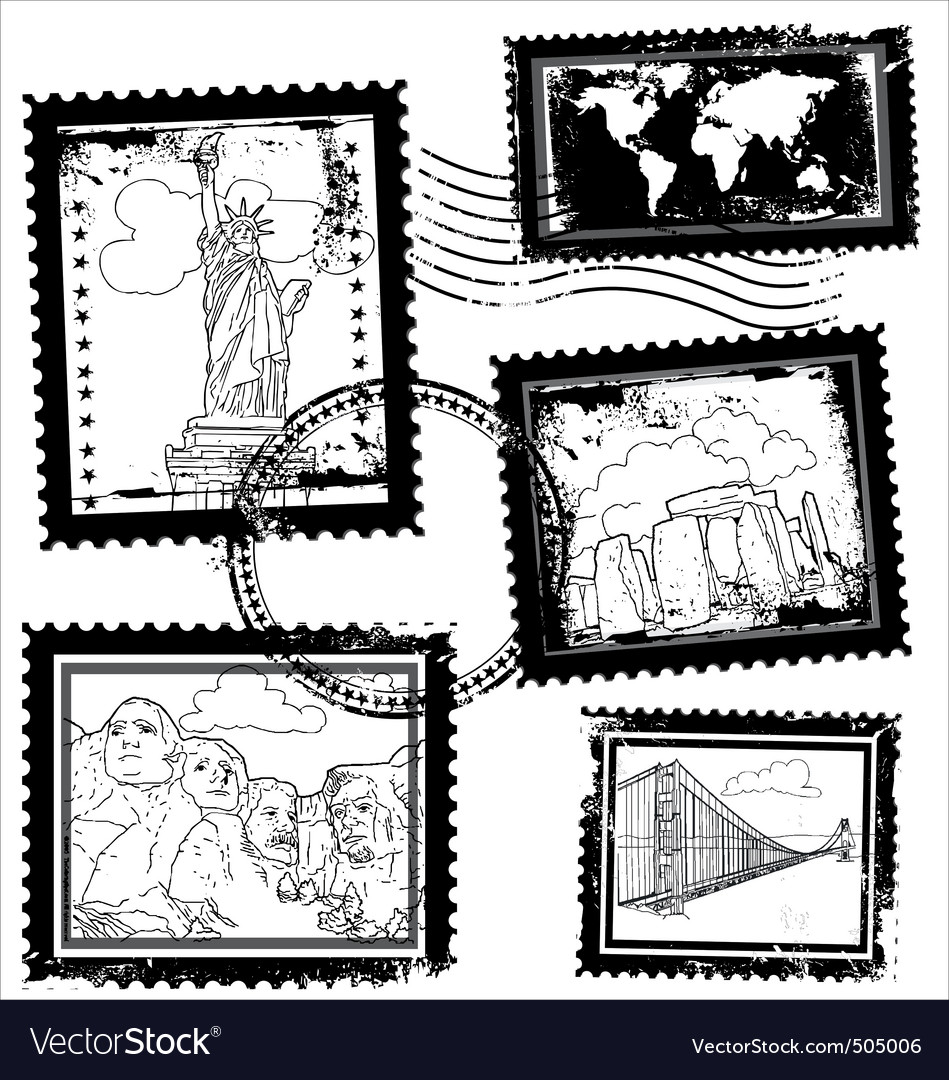 World landmarks stamps vector   Price: 1 Credit (USD $1)
