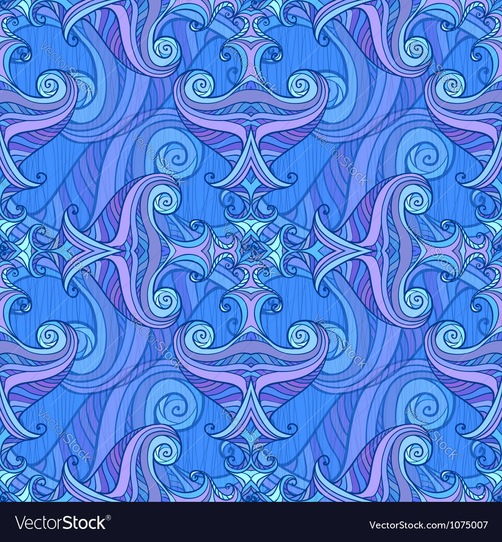 Blue and violet waves seamless background vector   Price: 1 Credit (USD $1)
