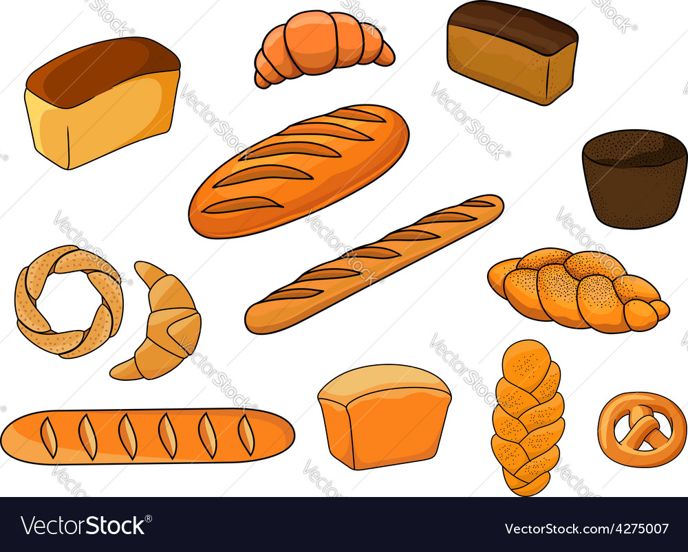 Breads and pastry in cartoon style vector | Price: 1 Credit (USD $1)